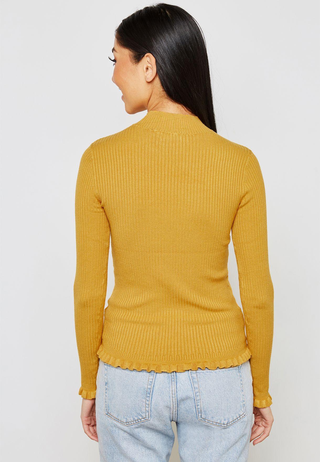 Frill Hem Rib Knitted Top