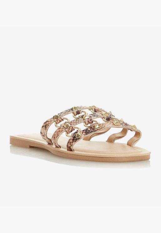 Metallic Embellished Open Toe Flats - Brown