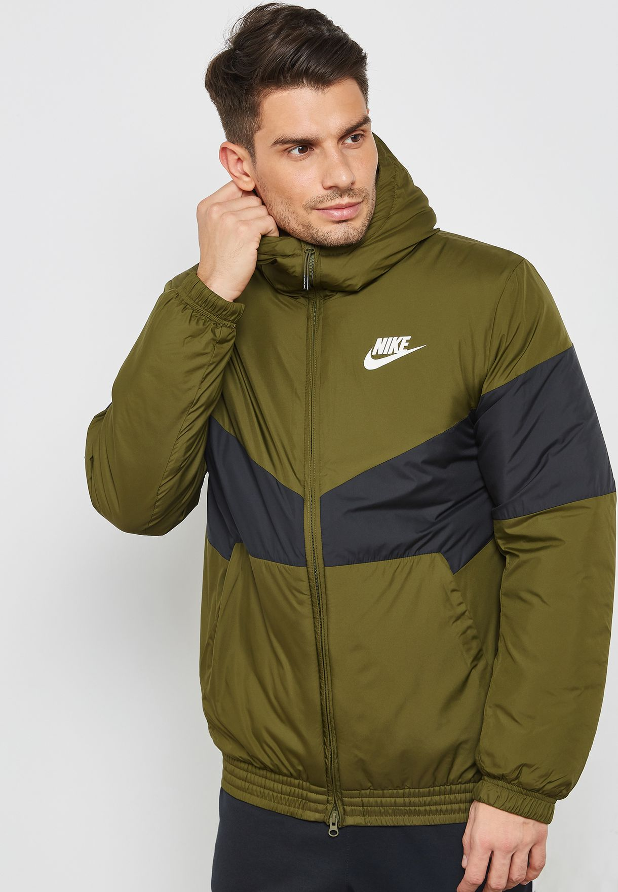 50c2d9050 Shop Nike green Synthetic Fill Hooded Jacket 928861-355 for Men in ...