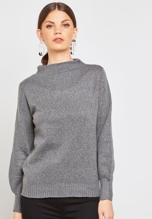 Funnel Neck Long Sleeve Sweater