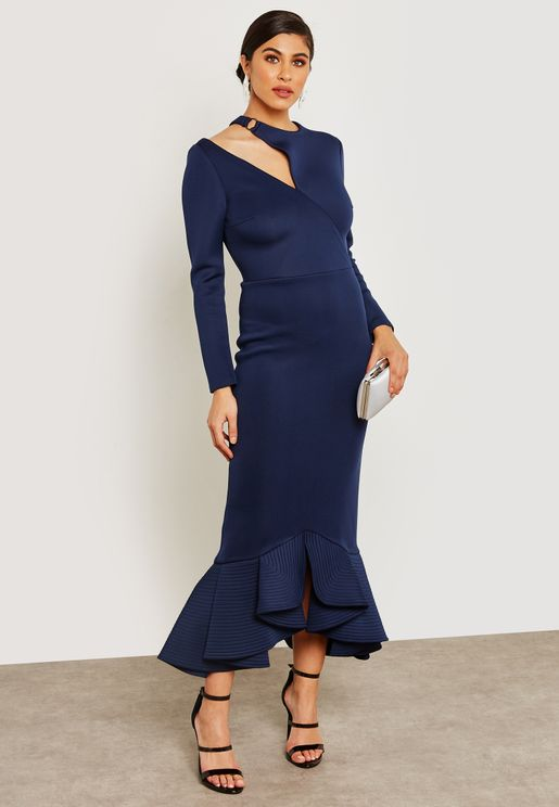 Cut Out Pephem Maxi Dress