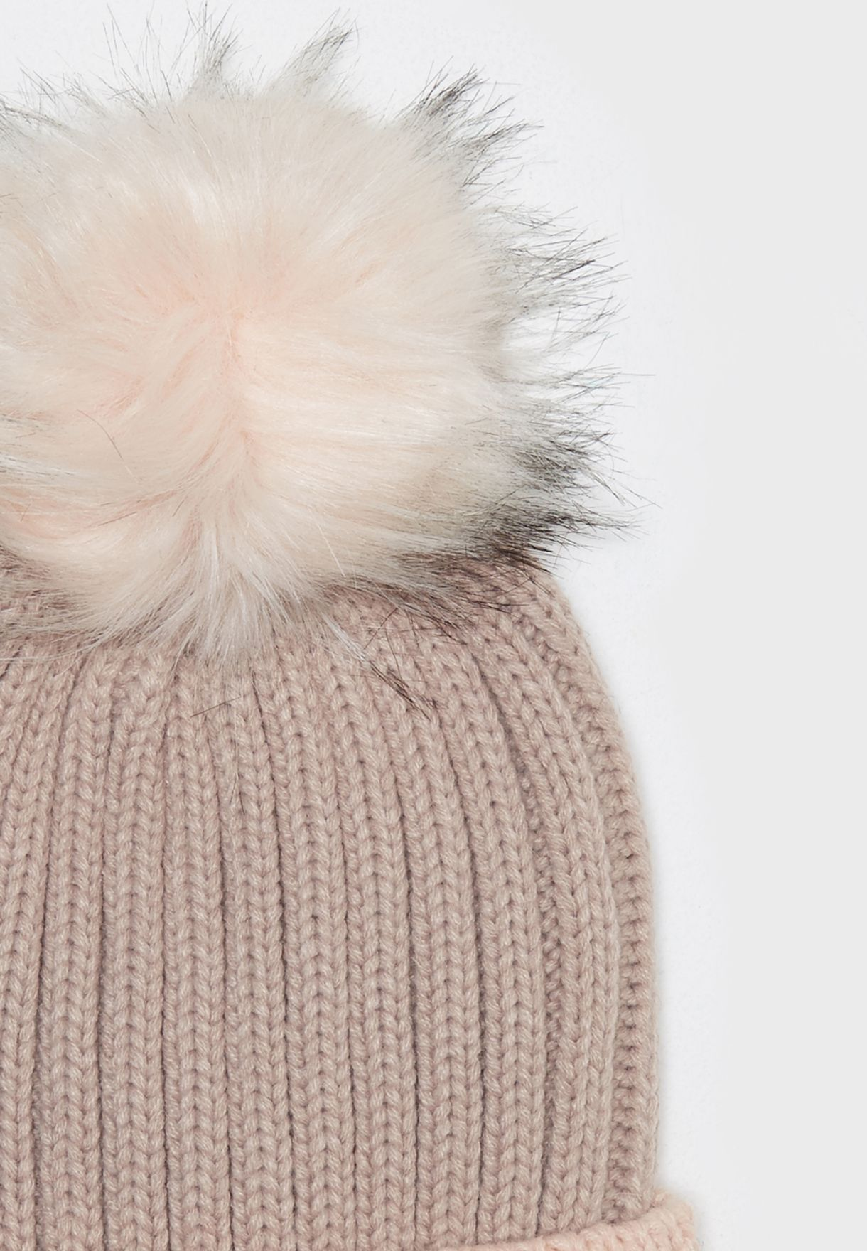 196780020e8 Shop New Look pink Block Faux Fur Pom Bobble Beanie 543914970 for ...