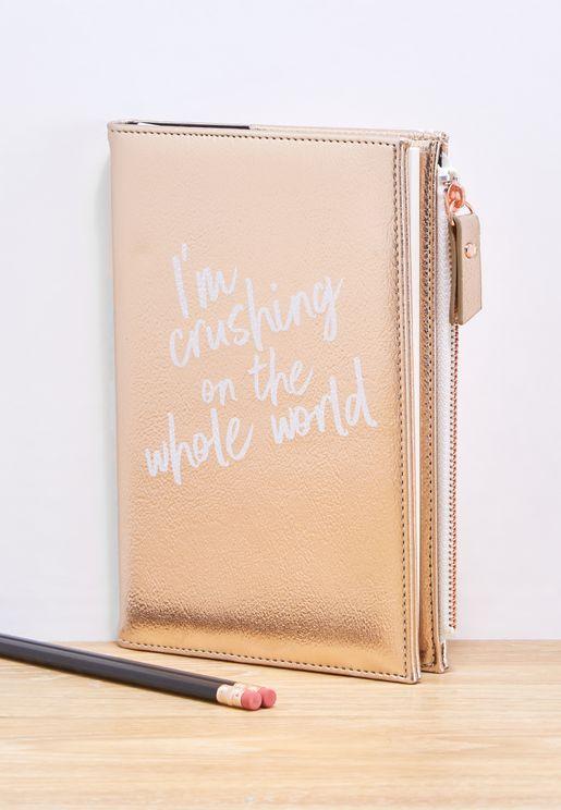 دفتر بسحاب مزين بطبعة كتابة