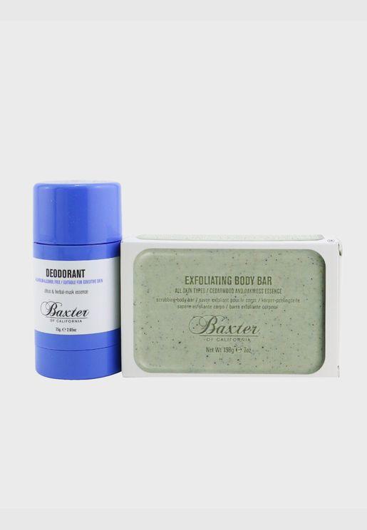 مجموعة كاملة الحجم من قطعتين Body Essential: مزيل تعرق 75 جرام + صابون مقشر للجسم 198 جرام