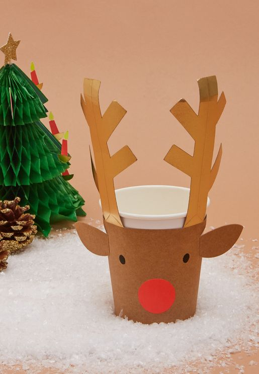 Christmas Set of 8 Reindeer Cups