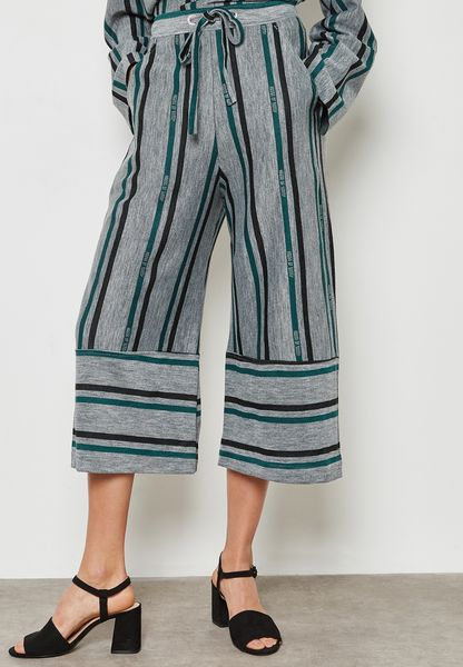 Tie Waist Wide Leg Striped Culottes