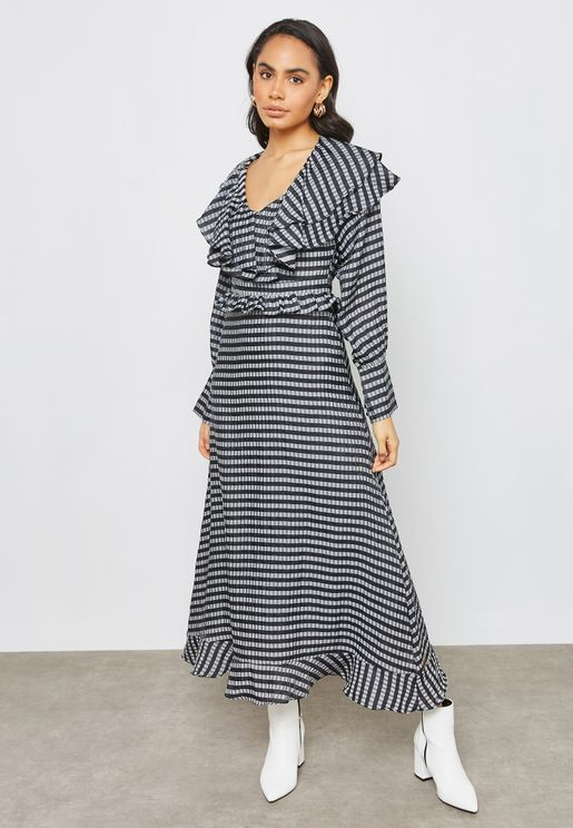 Striped Ruffle Detail Maxi Dress