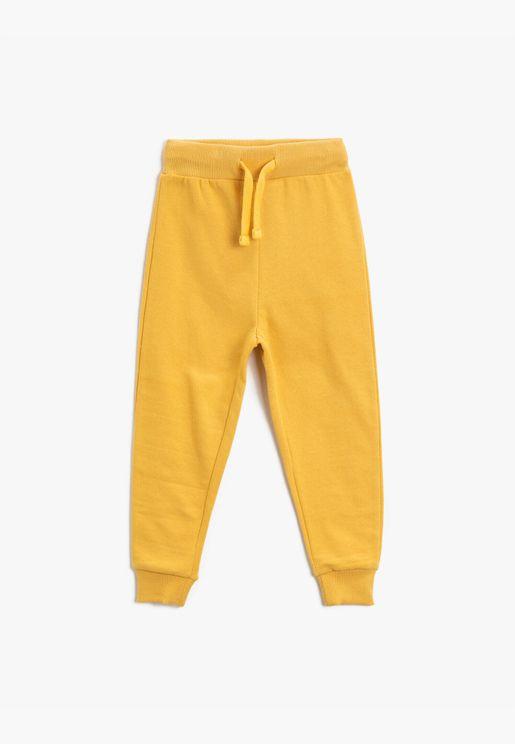 Cotton Drawstring Basic Jogging Pants