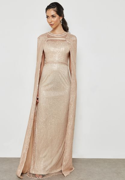 Split Sleeve Sequin Maxi Dress