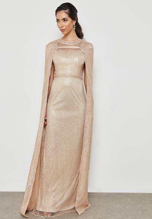 Cape Sequin Dress