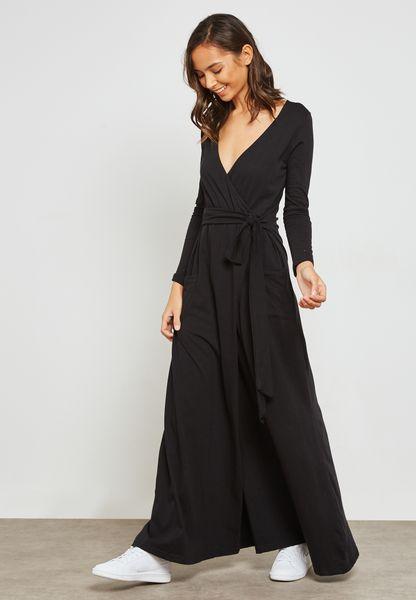 فستان مكسي بنمط لف في الامام