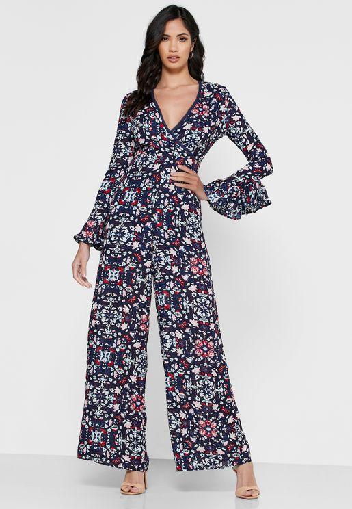 Wide Leg Floral Print Jumpsuit