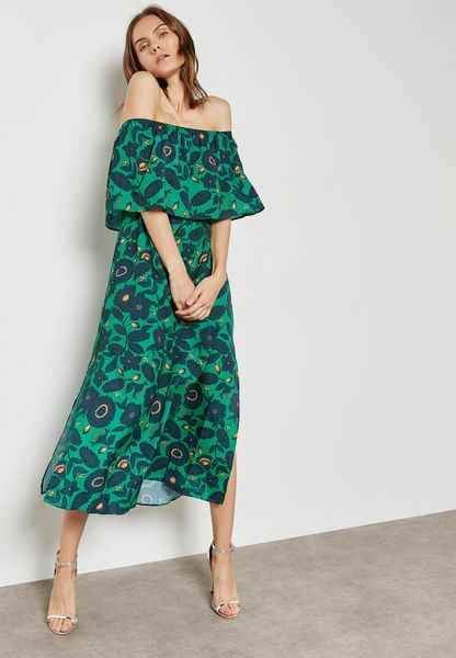 Floral Print Ruffle Bardot Midaxi Dress