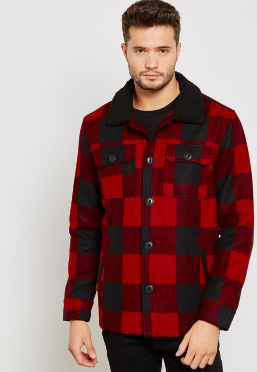 Sherpa Collar Checked Jacket