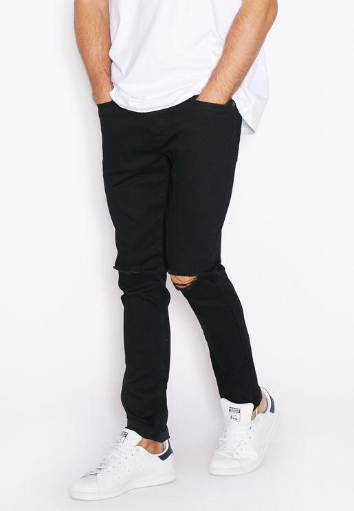 Skinny Fit Dark Wash Ripped Jeans