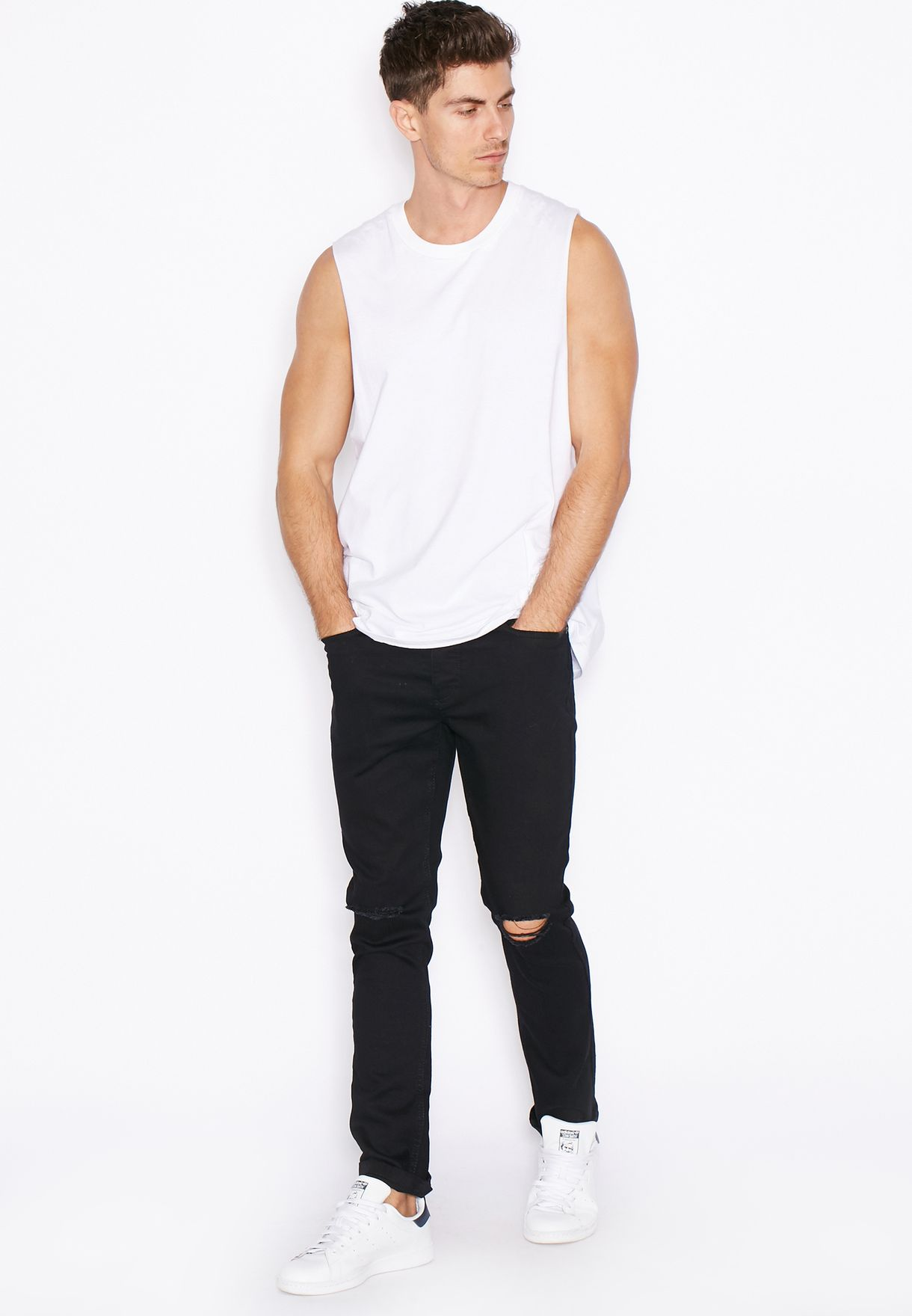 Skinny Fit Dark Wash Ripped Jeans