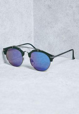Bar Round Blue Lens Sunglasses