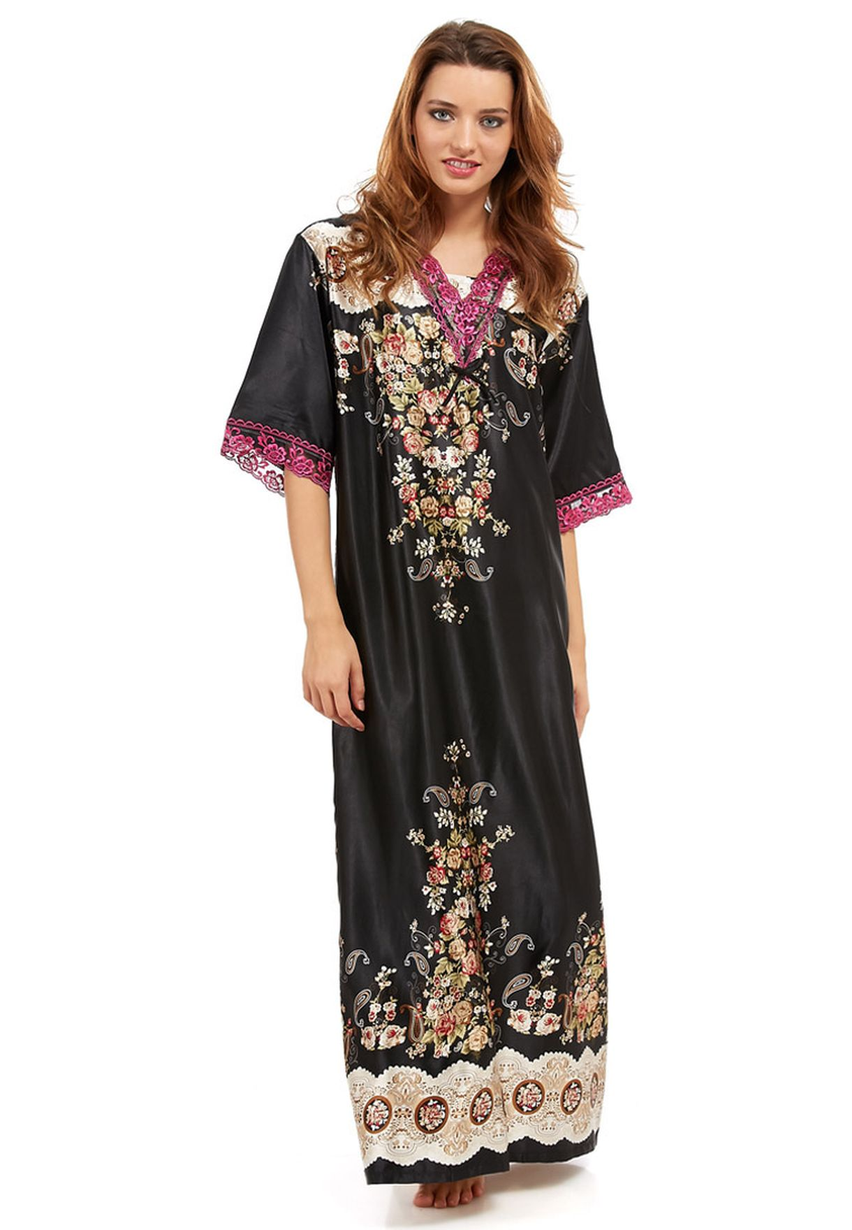 Shop H Nathalie black Long Night Robe for Women in UAE - HN552AT28QIT ee9a7dd55