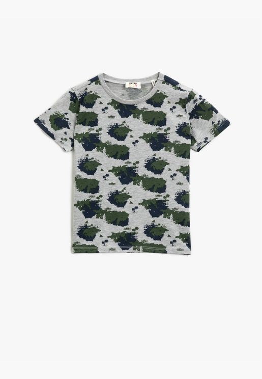 Camouflage Printed T-Shirt Short Sleeve Cotton