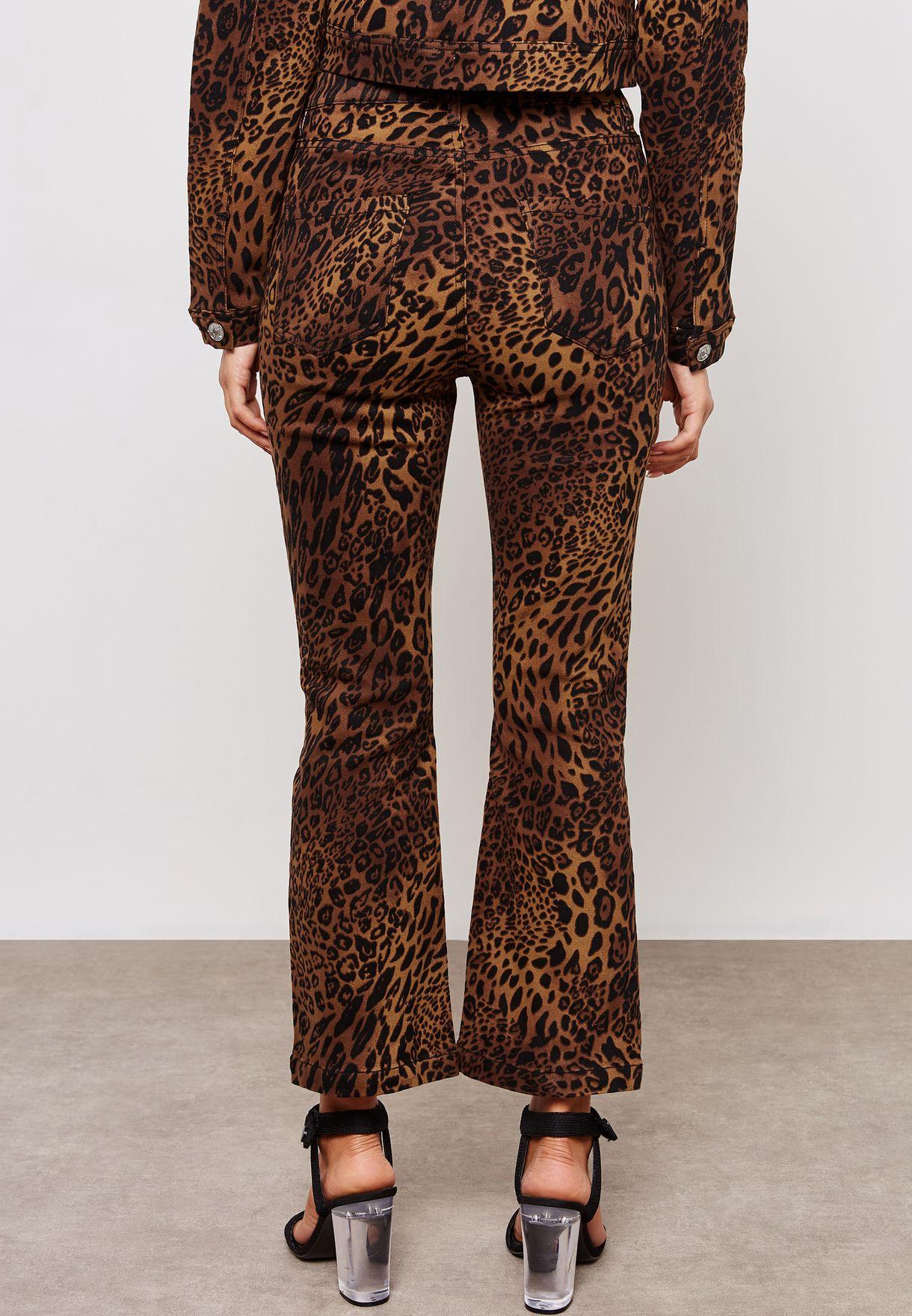 e3551154de9d Shop Missguided prints Leopard Print Cropped Kick Flare Jeans Co Ord ...