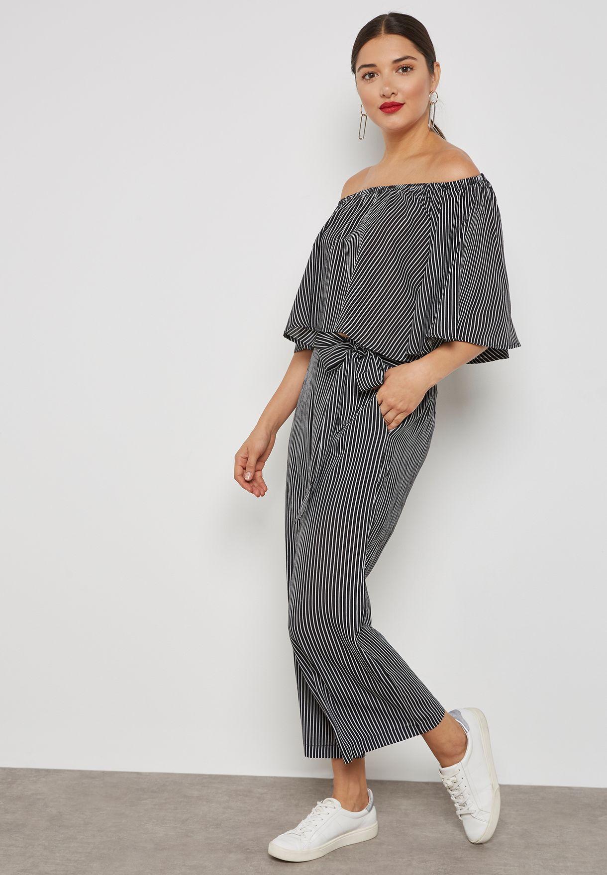 Striped Bardot Pants Set
