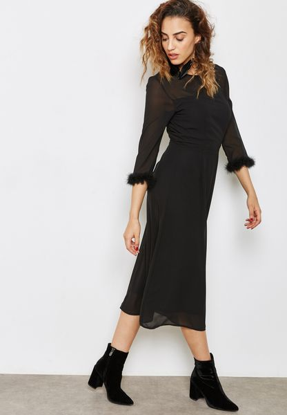 Fur Trim Maxi Dress