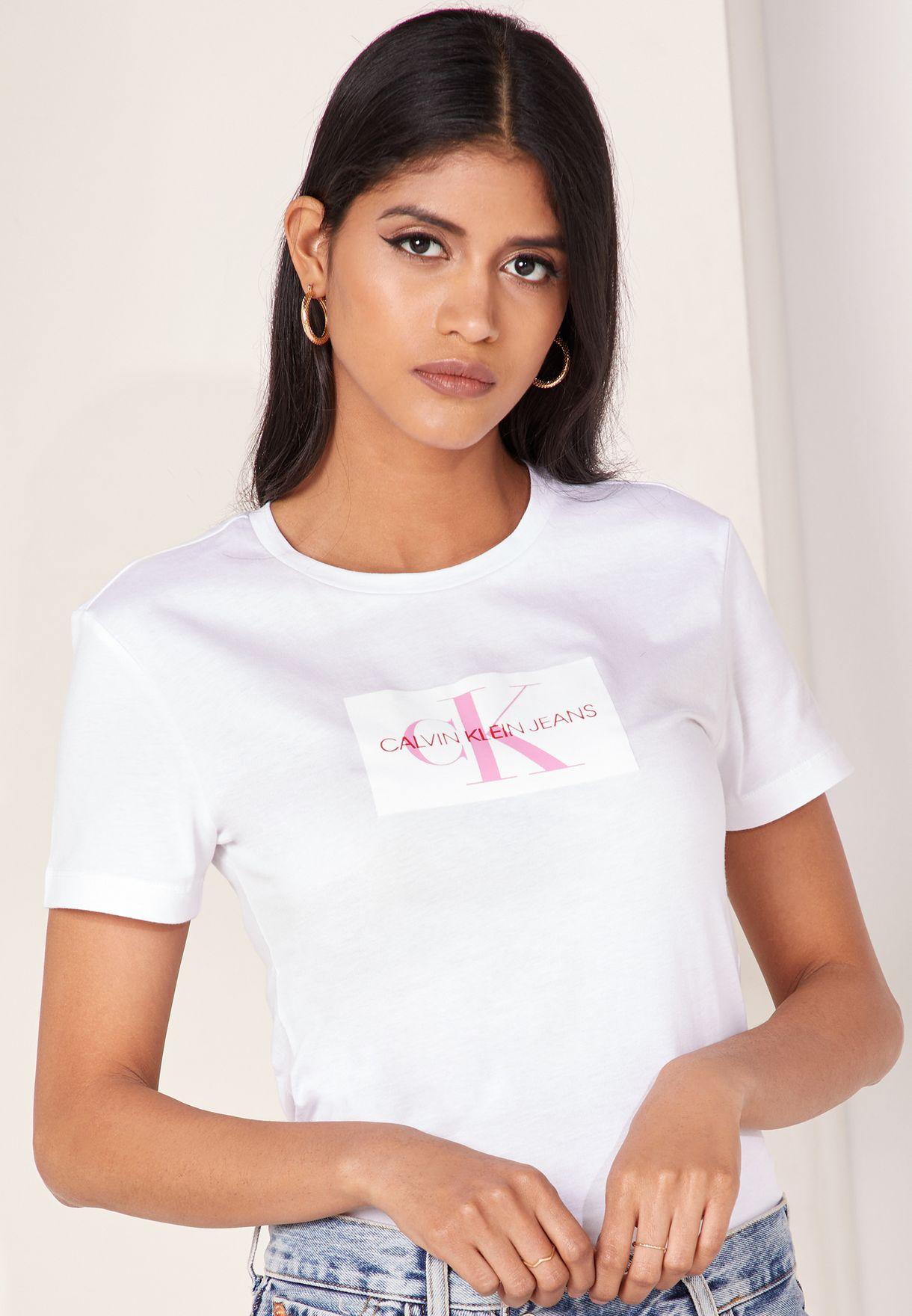 6fcd5de5501a74 Shop Calvin Klein Jeans white Logo T-Shirt J20J209738 for Women in ...