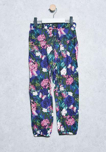 Kids Harem Rainforest Print Pants