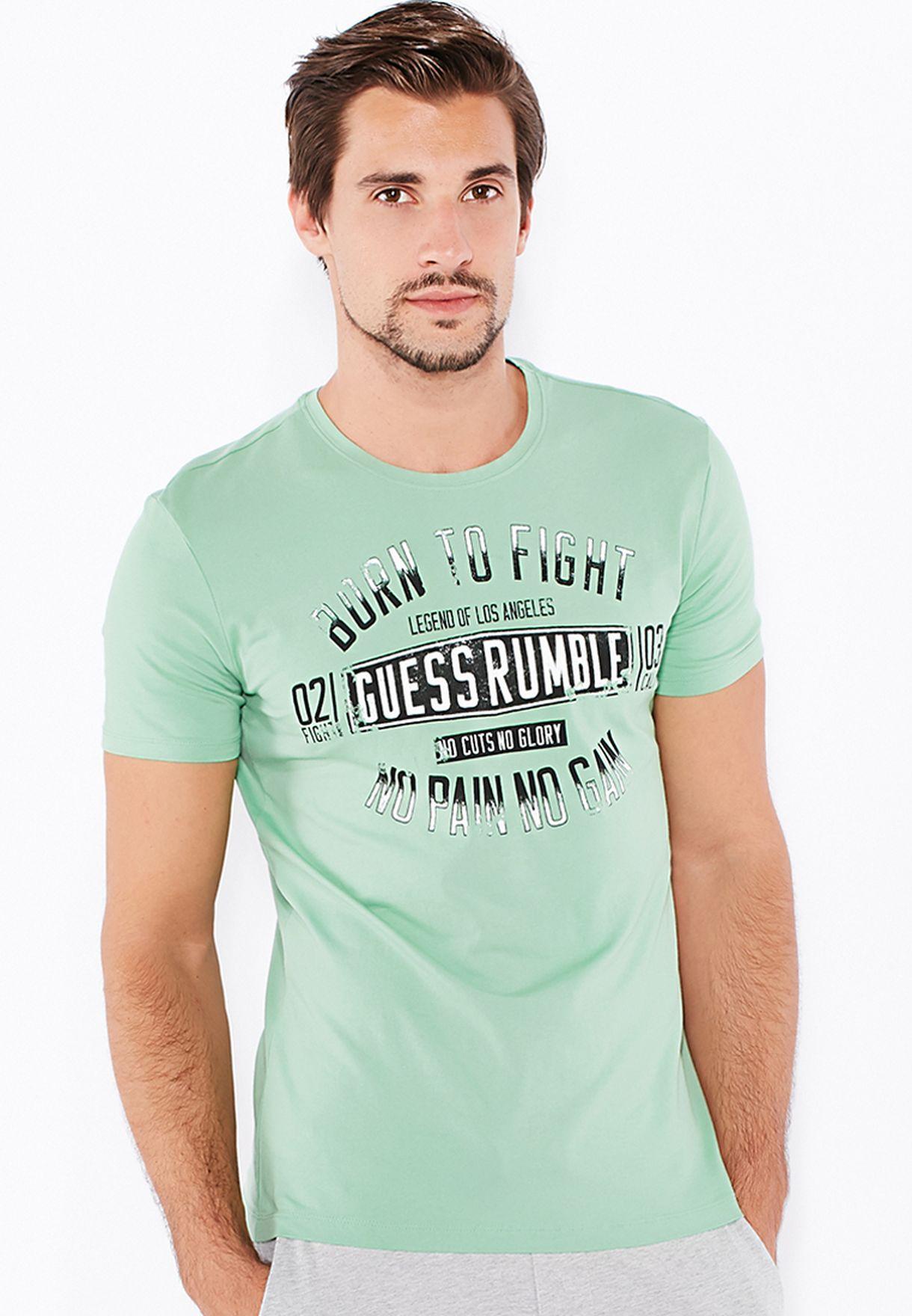 89eb32ad0 Shop Guess green Cuts No Glow T-Shirt M51I00J1300 for Men in Saudi ...