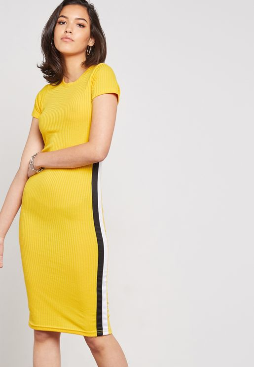 Contrast Side Paneled Ribbed Dress