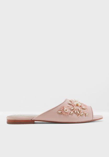 Afra Embellished Flat Sandal