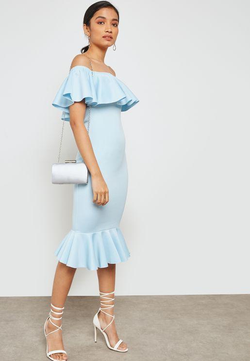 Bardot Frill Fishtail Dress
