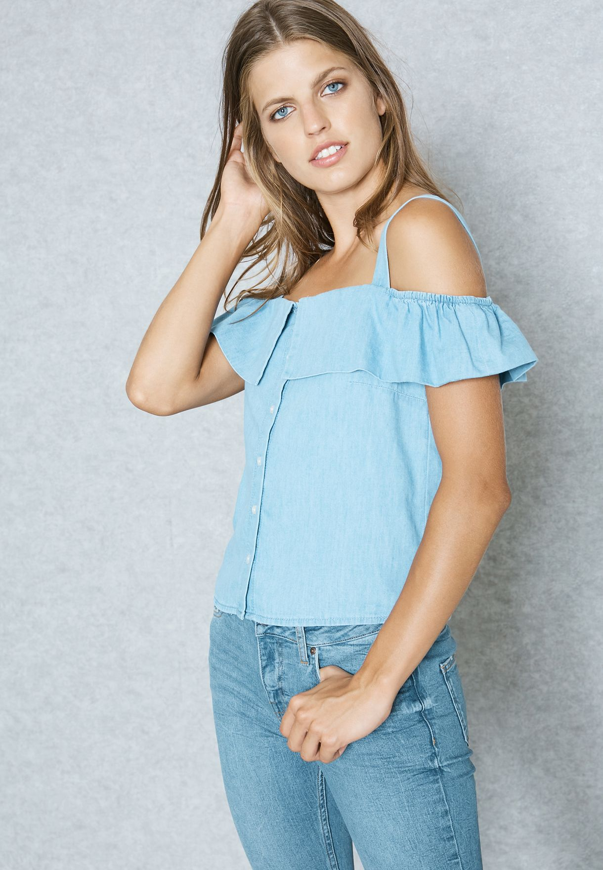 8fc9aacccc02b Shop New Look blue Denim Cold Shoulder Top 530505744 for Women in ...
