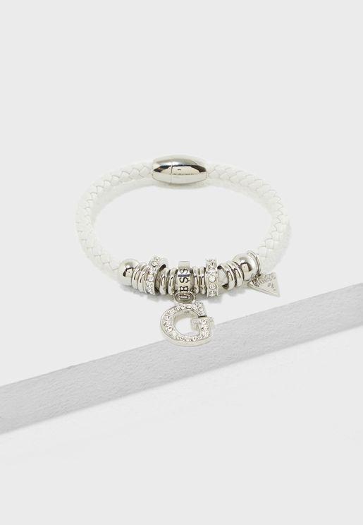 White G Charm And Beads Bracelet