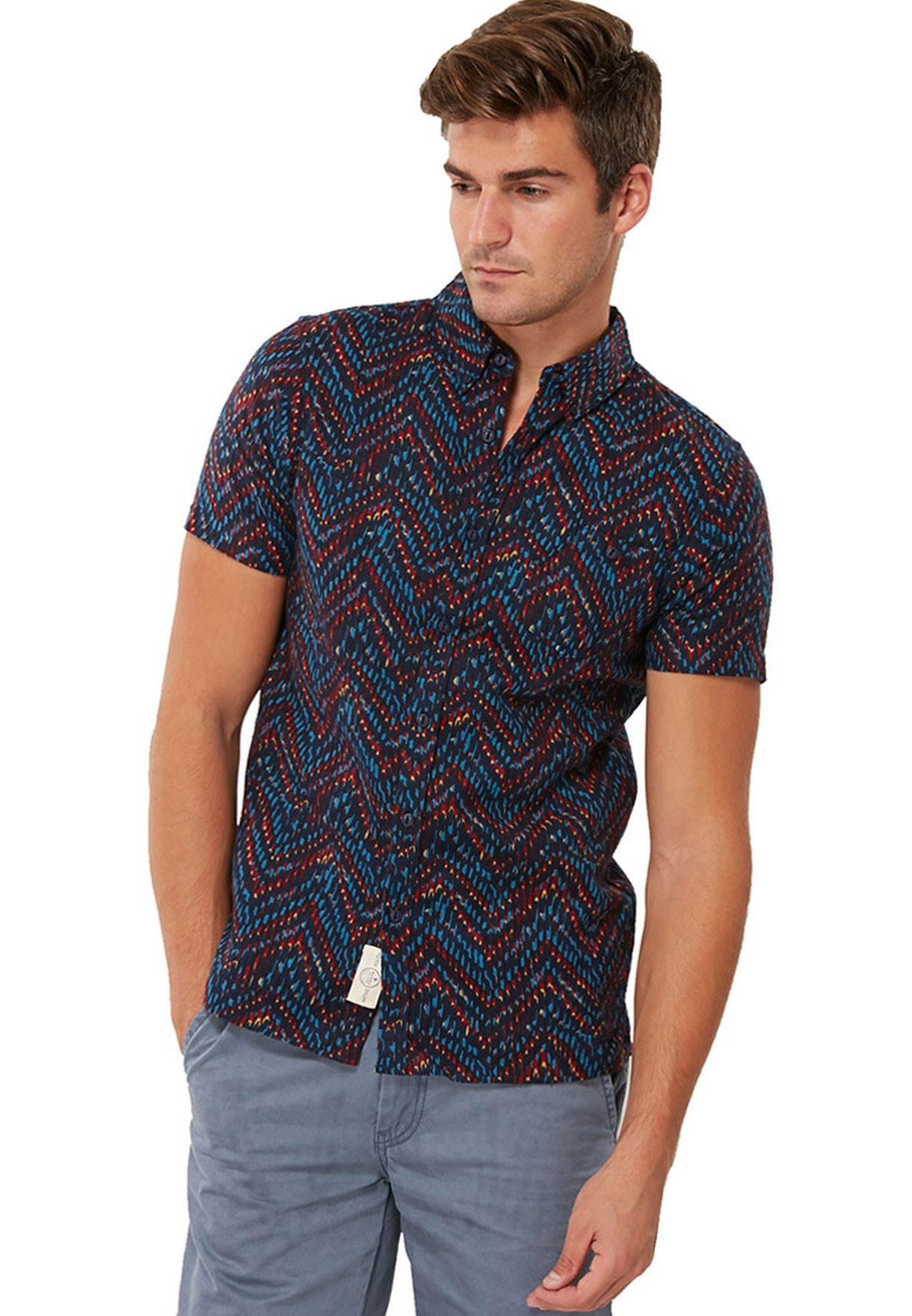 61bdcf37f3b Shop Native youth prints Herringbone Print Shirt for Men in Bahrain -  NA557AT18PYN