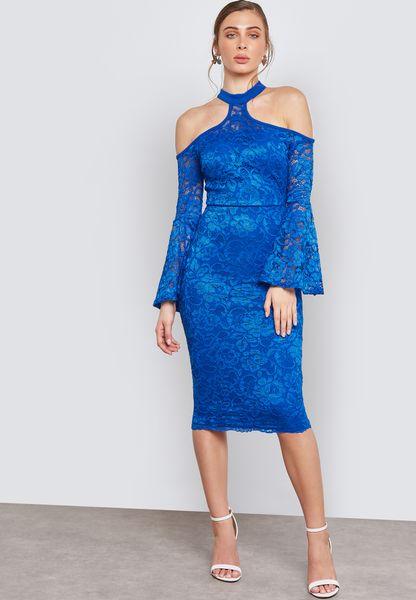 فستان دانتيل باكمام فلوت
