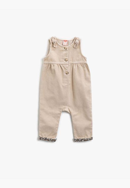 Cotton Button Detailed Velvet Leopard Patterned Overalls