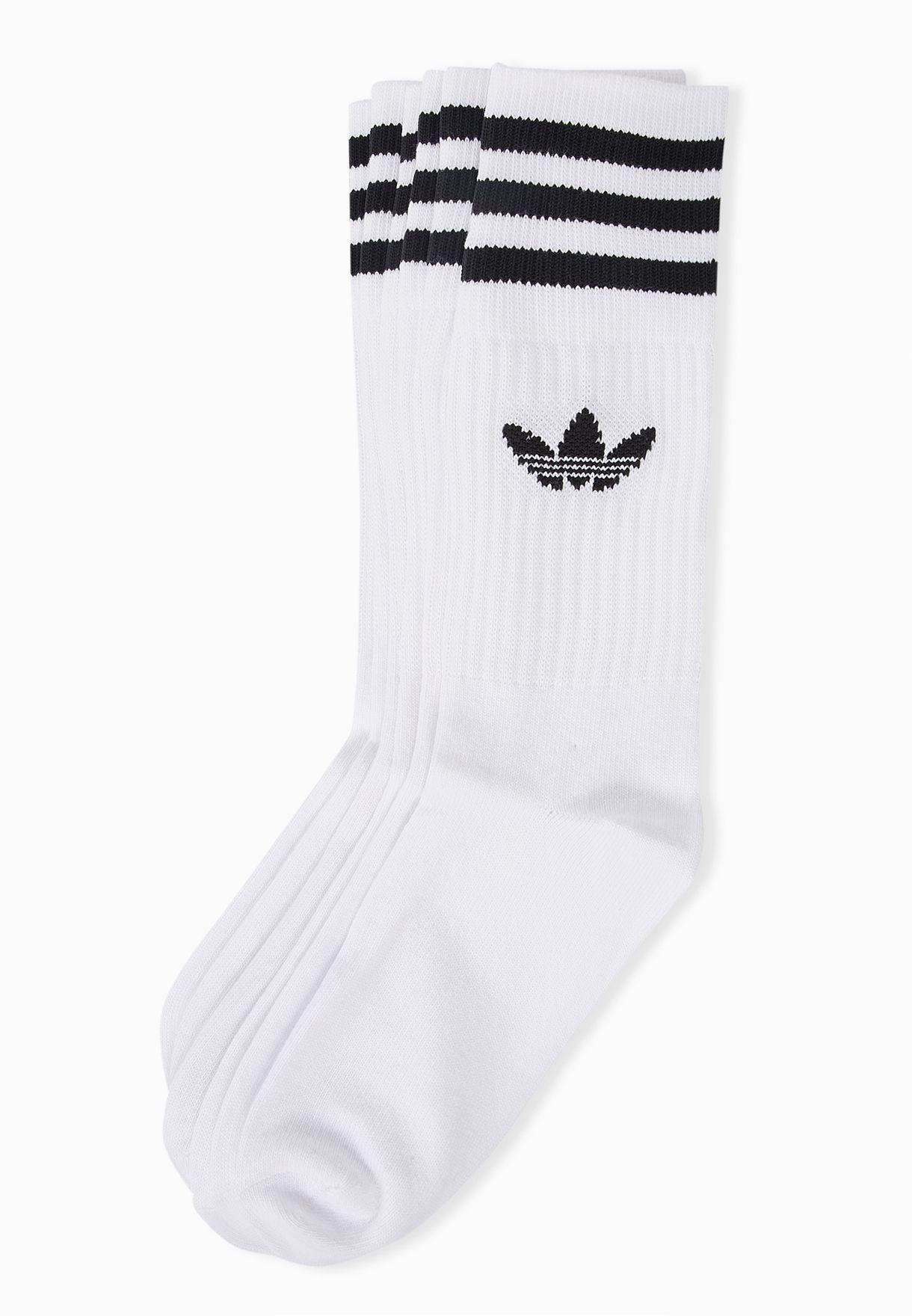057d20b38dc656 Shop adidas Originals white 3 Pack Trefoil Socks S21489 for Men in Qatar -  AD478AT18BCR