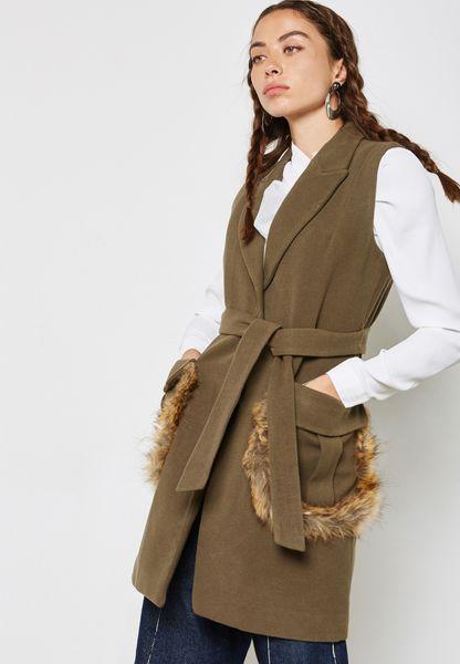 Fur Trim Longline Jacket