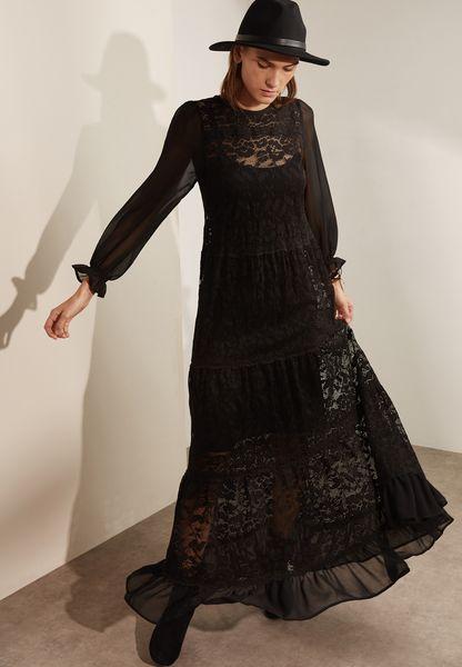 Sheer Lace Detail Maxi Dress