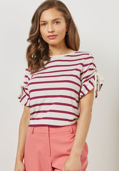 Tie Sleeve Striped T-Shirt