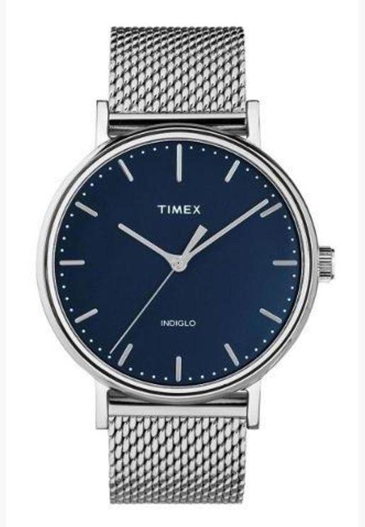 ساعة تيميكس فيرفيلد للنساء بسوار شبكي - TW2T37500