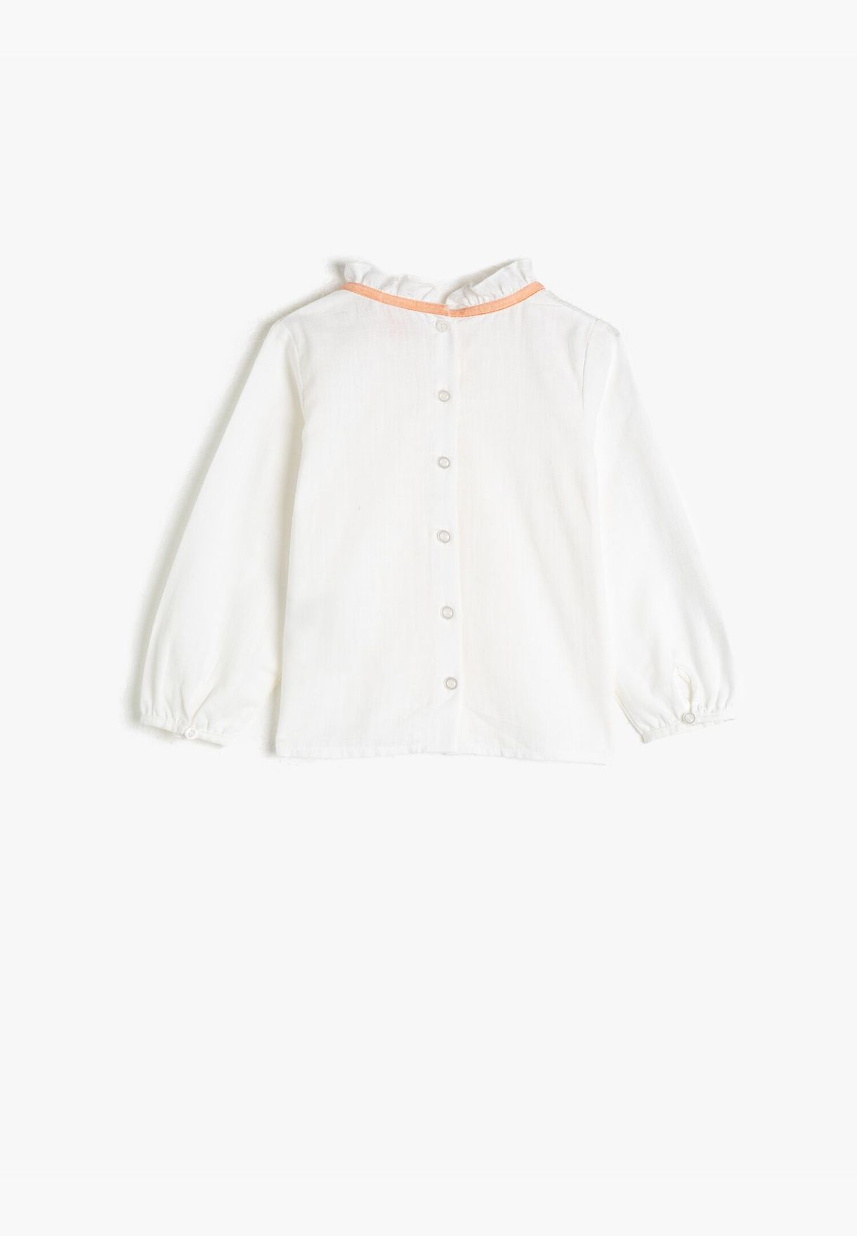 Frill Detailed Long Sleeve Cotton Blouse
