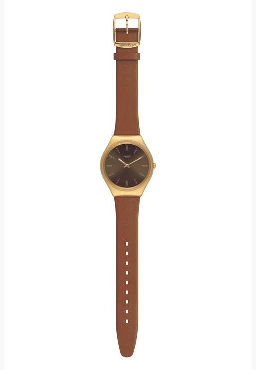 ساعة سواتش جلد ايروني 38 بسوار جلدي للجنسين - SYXG104
