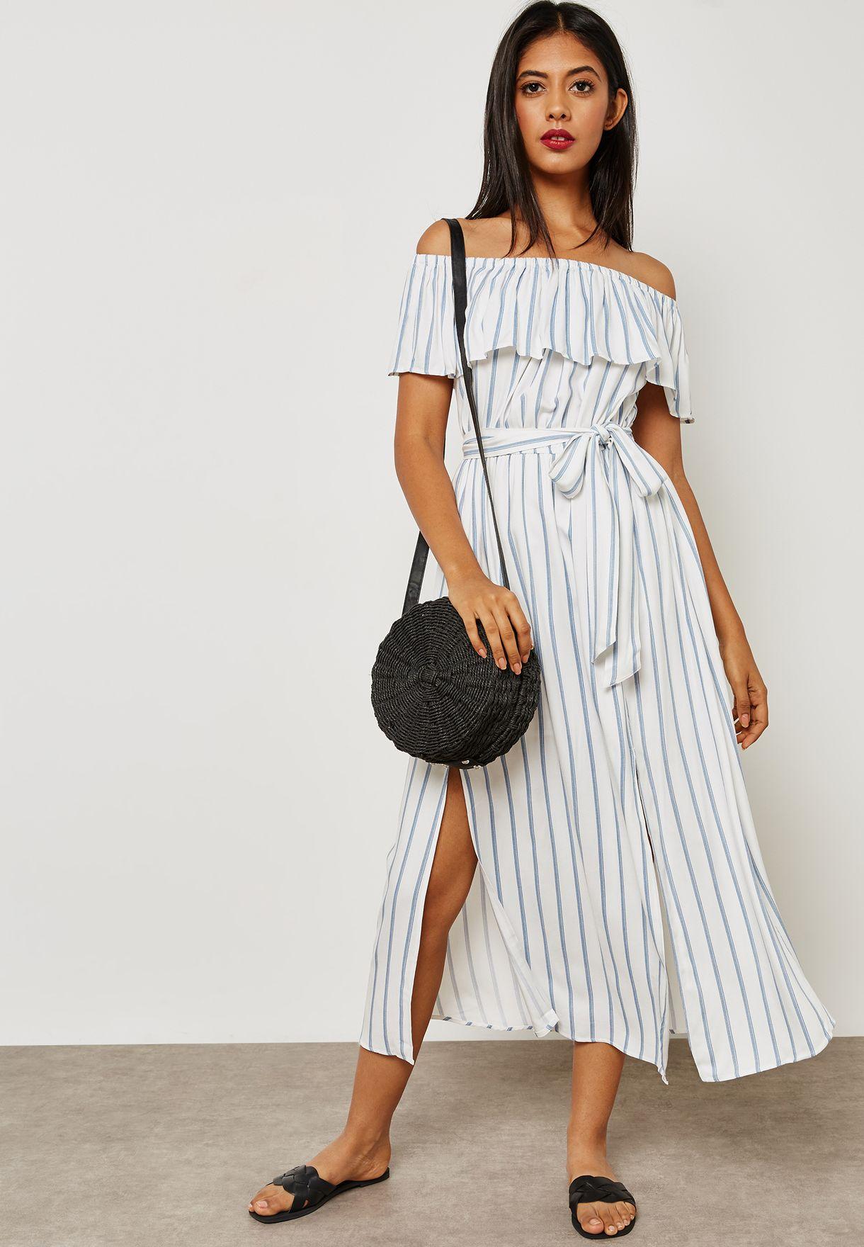 e889bd8037 Shop Forever 21 prints Striped Bardot Maxi Dress 289727 for Women in ...
