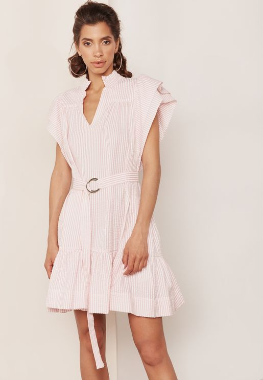 Belted Frill Detail Striped Chambray Dress