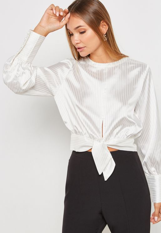 Satin Front Knot Top