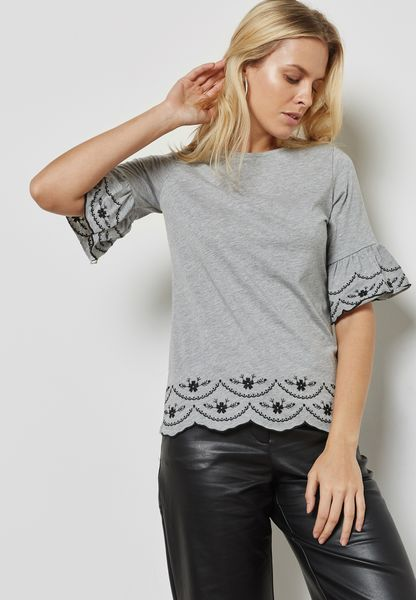 Embroidered Flute Sleeve Top