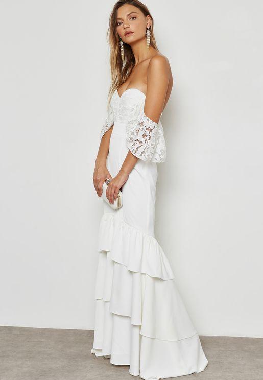 Bandeau Tiered Mermaid Dress