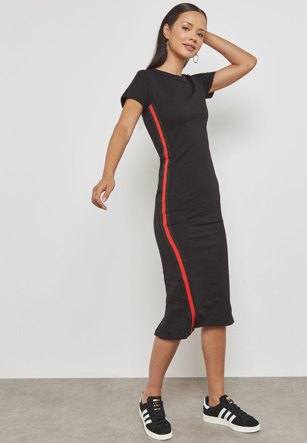 Contrast Tape Paneled Midi Dress